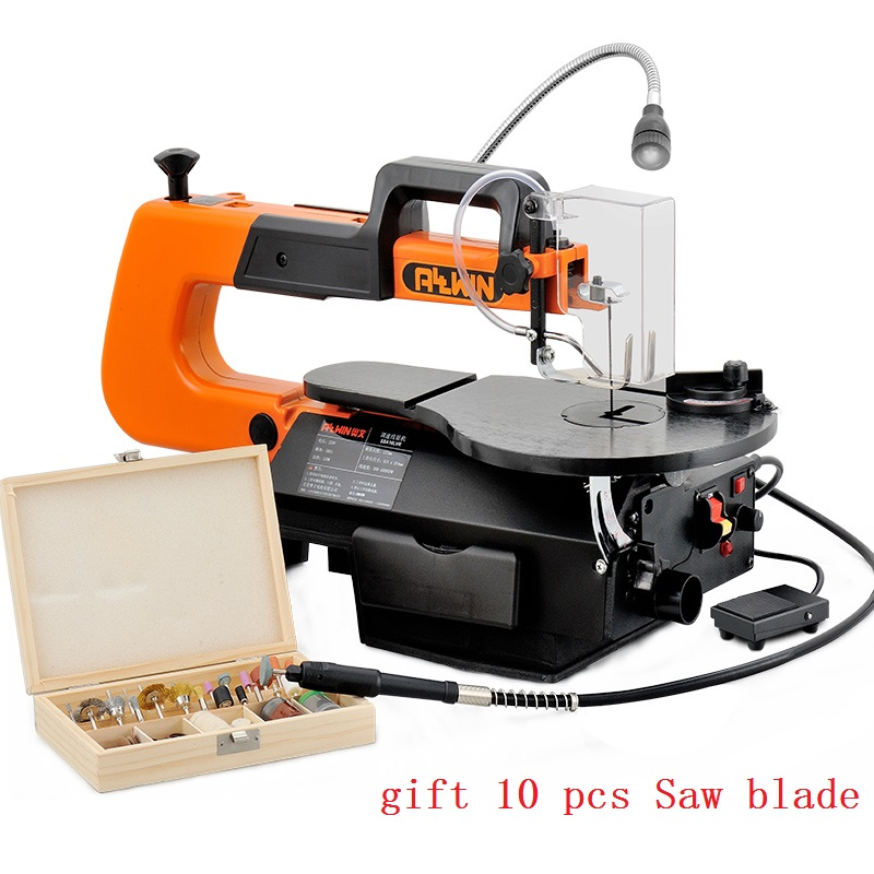 Electric Scroll Saw 16 inch Speed Variable Jig Saw 220V Woodworking DIY Table Angle Cutting Curve Saw with 10 Blades SSA16L-VR