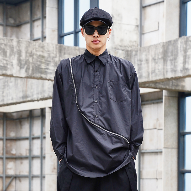 Men Japan Streetstyle Zipper Long Sleeve Casual Shirt Male Long Design Hip Hop Retro Fashion Loose Dress Shirts