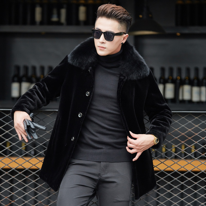 Luxury Men Shearling Fox Fur Collar Coats Winter Business Single Breasted Wool Jackets Turn-down Collar Real Fur Overcoat Male