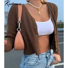Rockmore Pullover Strickwaren Frauen Herbst Y2K Langarm V-ausschnitt Gestrickte Strickjacken Harajuku Koreanische Braun Crop Tops Solide Outwear