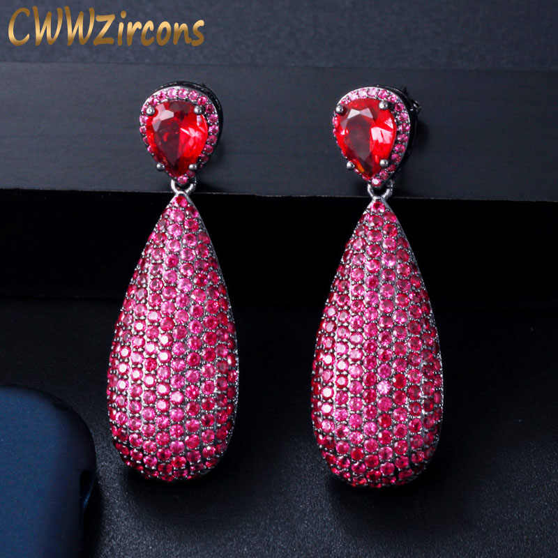 CWWZircons Luxury Micro Cubic Zirconia Paved Unique Black Gold Color Hot Pink Red Big Dangle Drop Party Earrings for Women CZ592