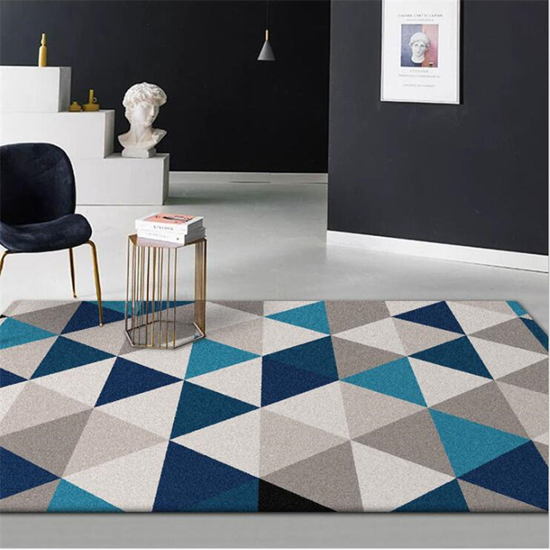 AOVOLL Fashion Modern Nordic Style Blue White Gray  Mosaic Living Room Bedroom Kitchen Bedside Mat Carpet Area Rugs