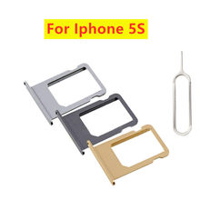 Gold Grey For iPhone 5 5S 5c Silver Nano Sim Card Tray Adapter Slot Holder Replacement Part with Eject Pin(China)