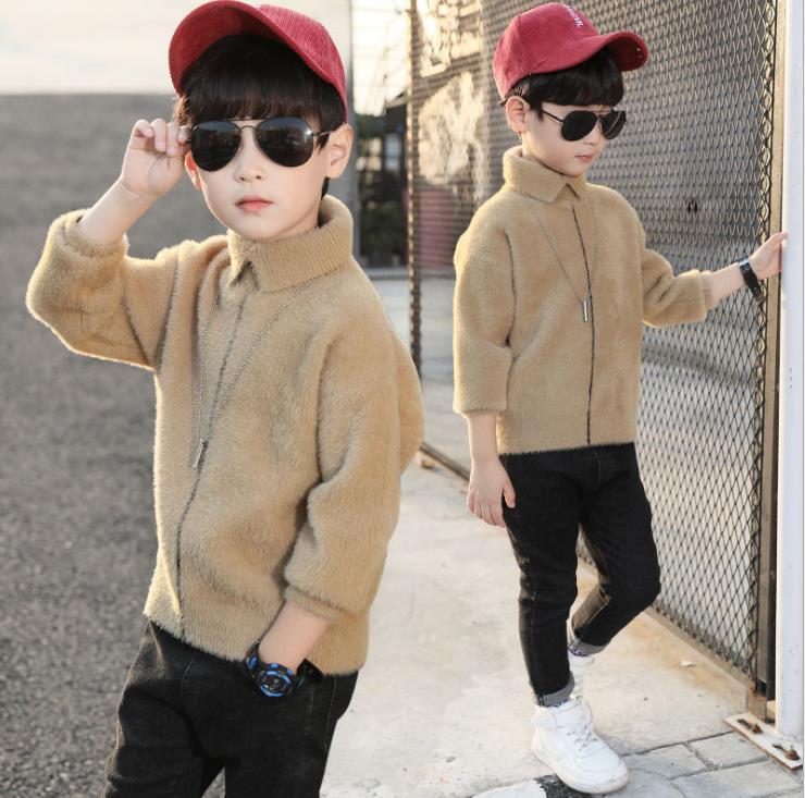 Children's Boys Sweater 2019 New Children's Kid High Collar Mohair Autumn And Winter Plus Velvet Thickening Shirt 3-12 Years