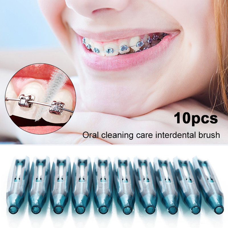 10 PCS Dental Interdental Brush Push Pull Gum Interdental Tooth Brush Orthodontic Wire Brush Toothbrush Oral Care Toothpick image