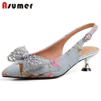ASUMER 2020 new arrival thin heels party wedding shoes ladies pointed toe bowknot buckle slingback summer shoes women pumps