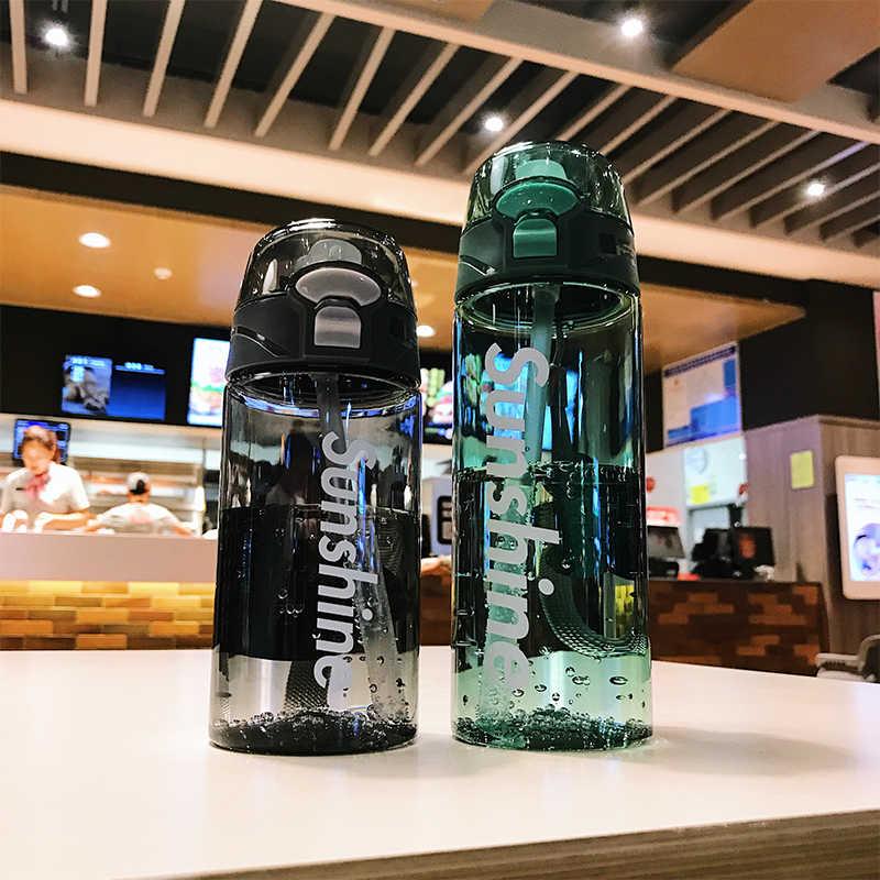 Botella de agua con pajita, botellas de agua deportivas para gimnasio, 430 ml, 550 ML, portátil para exteriores, a prueba de fugas, Tritan, vaso de plástico para niños, sin BPA