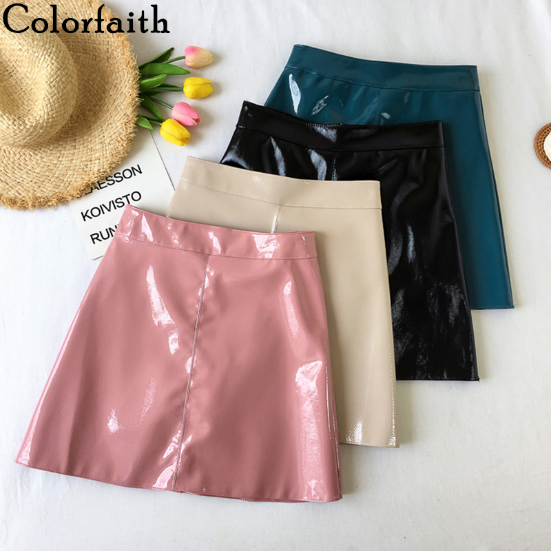 Colorfaith New 2019 Women PU Leather Skirt Autumn Winter Sweet Ladies Fashion A-Line Package Hip Solid Pink Mini Skirt SK9802