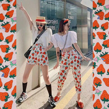 Tela de poliéster con estampado de fresa de albaricoque, tejido de 145 cm de ancho, hecho a mano, para verano, vestido, camisa, tejido de costura