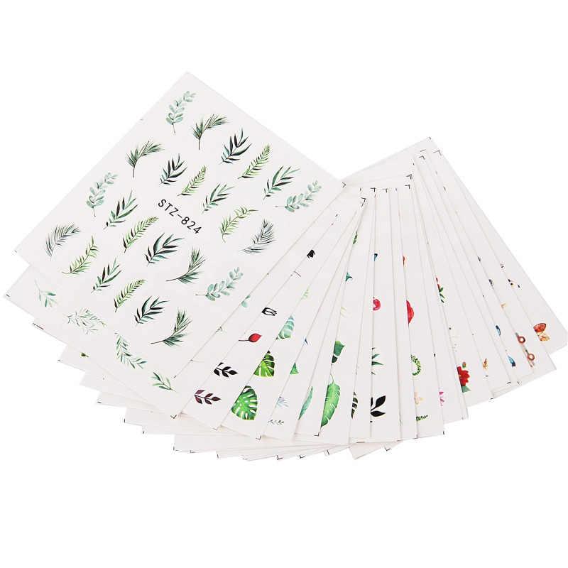 19 แบบสติ๊กเกอร์เล็บสีเขียว Leaf Flamingo ดอกไม้แคคตัส Decals ตกแต่งเล็บ Wraps Flakes Sliders เล็บ