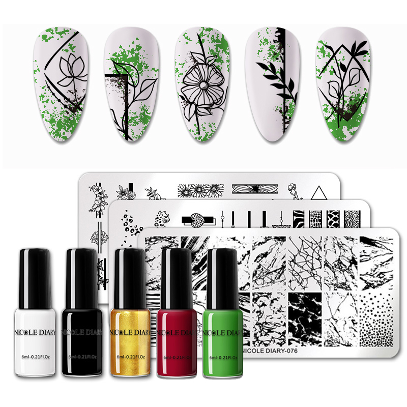 Nail Stamping Polish Set Flower Stripe Design Stamp Plates Kit Black White Gold Silver Printing Varnish Snake Pattern Stencil