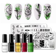 Kit de vernis d'estampillage des ongles, à bande, fleur, impression noir, blanc, or, argent, pochoir à motif serpent