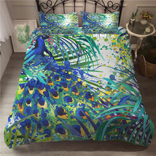 A Bedding Set 3D Printed Duvet Cover Bed Peacock Feather Home Textiles for Adults Bedclothes with Pillowcase #KQ04