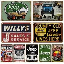 Retro desde jeep 1941 carros sinal de metal estanho placa garagem decoração da parede do metal vintage cartaz placas homem caverna shabby chic 2