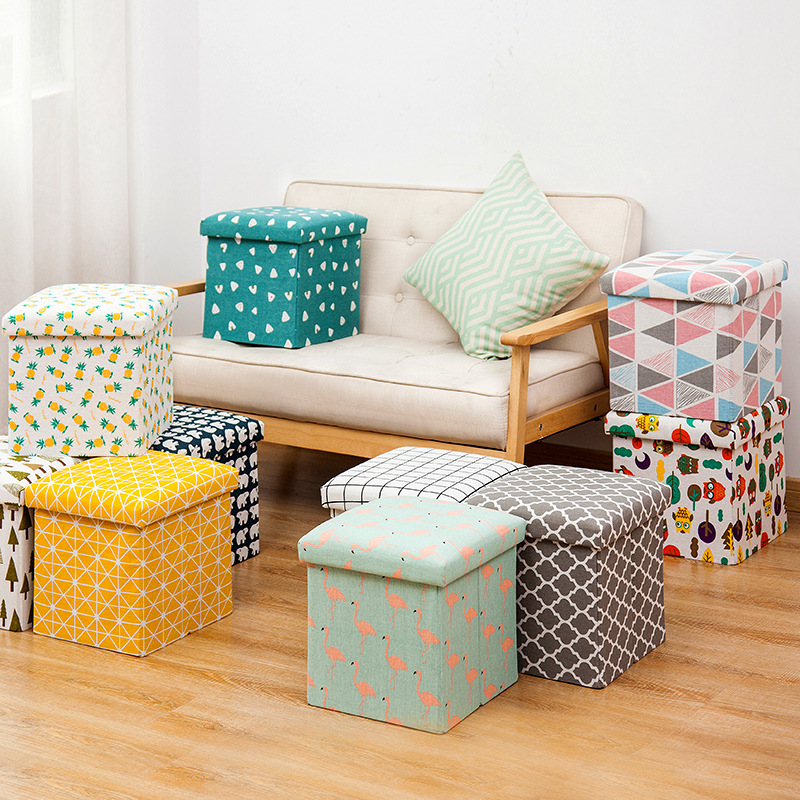 Cloth Storage Box Foldable Storage Stool Storage Stool Can Sit Adult Multifunctional Square Sofa Shoe Changing Stool  Ottoman