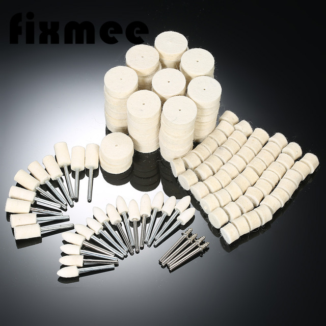 129 Pcs Wool Felt Polishing Wheels Buff Pad With Mandrel For For All Rotary