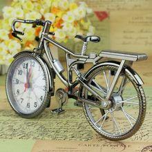 Plata bicicleta muebles vintage de hogar Motor bicicleta ciclo helicóptero de alarma reloj tiempo escritorio habitación niños regalo miniaturas caliente