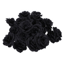 20 Pcs Black Rose Artificial Silk Flower Party Wedding House Office Garden Decor DIY(China)