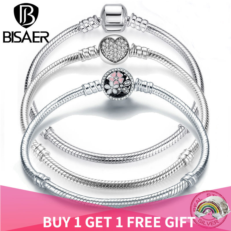 BISAER Genuine Bracelet Silver 925 Jewelry Snake Chain Bangle & Bracelet For Women Silver 925 Original Jewelry Valentine Gift