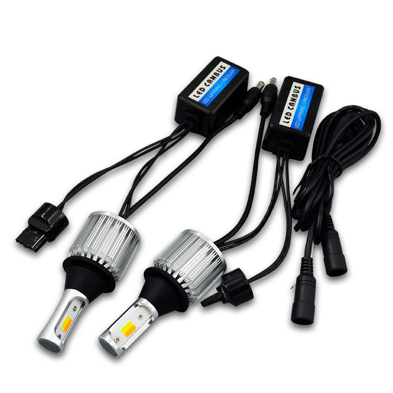 New Style 30W Double Color Turn Signal Daytime Running Lamp 1157 1156 7440 7443 Turn Signal Decoding White And Yellow