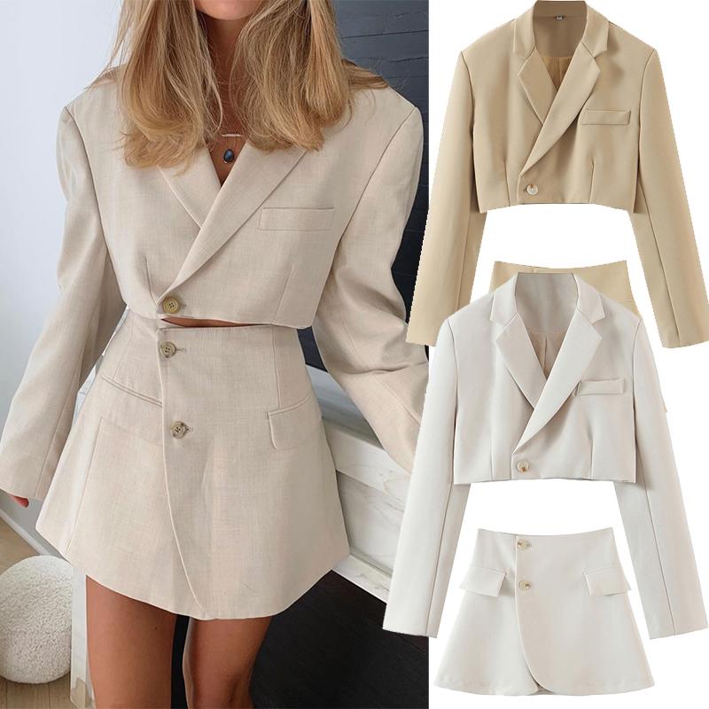 2020 Autumn Women 2pcs top skirt suit Short Solid color jacket Short skirt suits Lapel single breasted Long sleeve short jacket