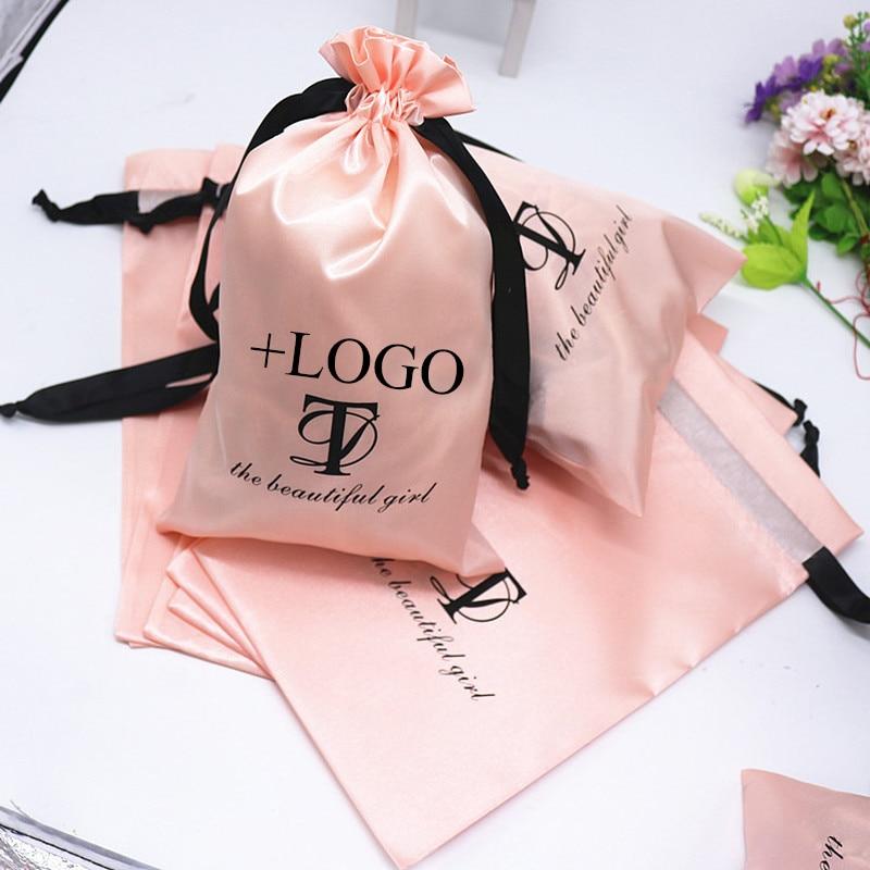 20PCS Baby Pink Silk Satin Pouch Hair Extensions/Wigs/Goods/Makeup Packaging Drawstring Bag Custom Print Logo Gift Bag