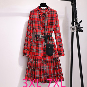 Image 1 - 2019 autumn winter plus size retro long dress for women large loose casual plaid girl pleated shirt dress red 4XL 5XL 6XL 7XL