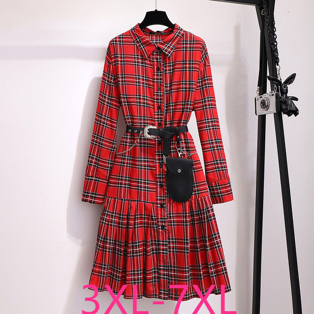 2019 autumn winter plus size retro long dress for women large loose casual plaid girl pleated shirt dress red 4XL 5XL 6XL 7XL
