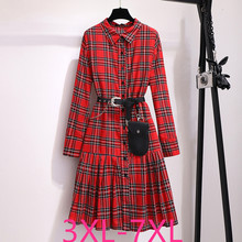 2019 herfst winter plus size retro lange jurk voor vrouwen grote losse casual plaid meisje geplooide jurk red 4XL 5XL 6XL 7XL
