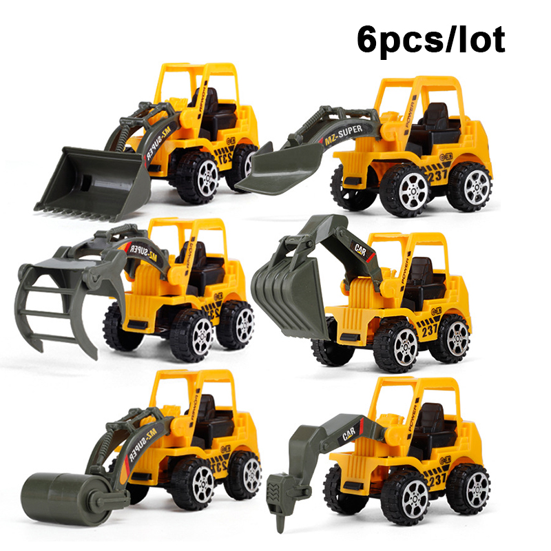 6 Pcs/Set Vehicle Truck Car Model Plastic Diecast Construction Bulldozer Engineering Model Toy Cars For Kids Children Boys Gift