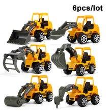 6 Pçs/set Veículo Caminhão Diecast Construção de Plástico Modelo de Carro Engenharia Bulldozer Modelo Carros de Brinquedo para Crianças dos miúdos Meninos Presente