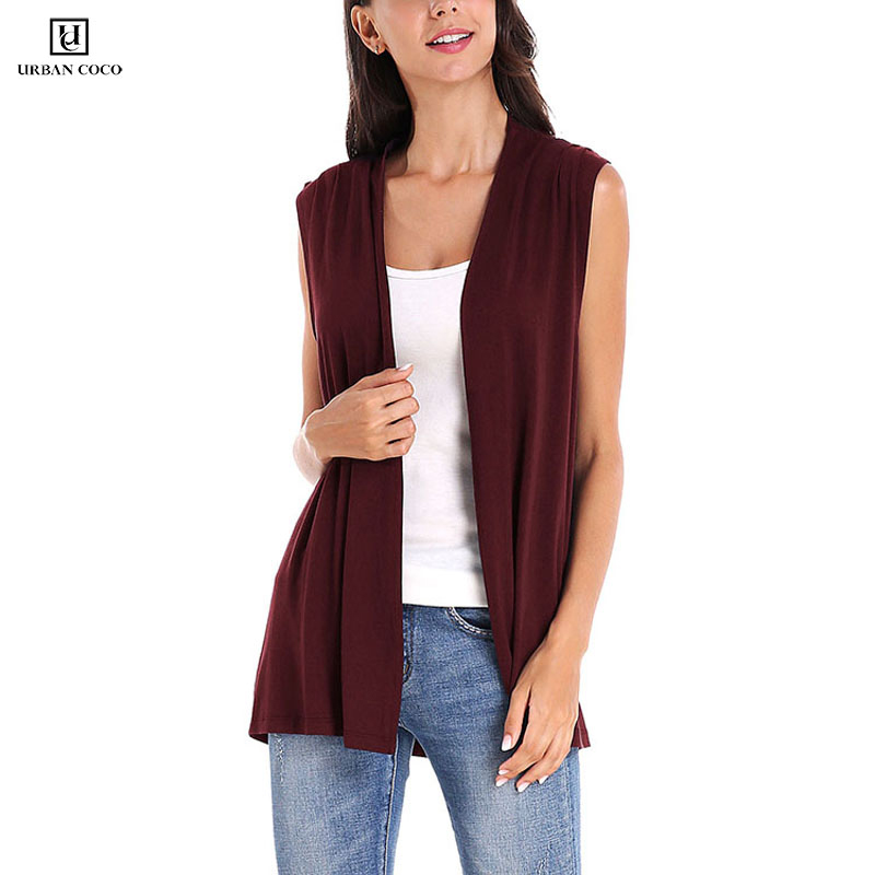 Womens Sleeveless Open Front Cardigan Vest Lightweight Cool Coat