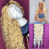 Deep Wave 613 Blond Colored Human Hair Wig Pre Plucked HD Transparent Glueless Remy Lace Frontal Wigs For Black Women Closure