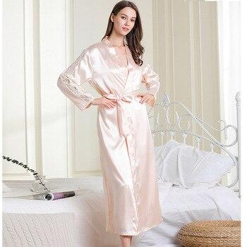 Ladies Nightdress Imitation Silk Suspender Skirt Robe Two-piece Sexy Nightgown Bathrobe Home Service Sleepwear Sets Set