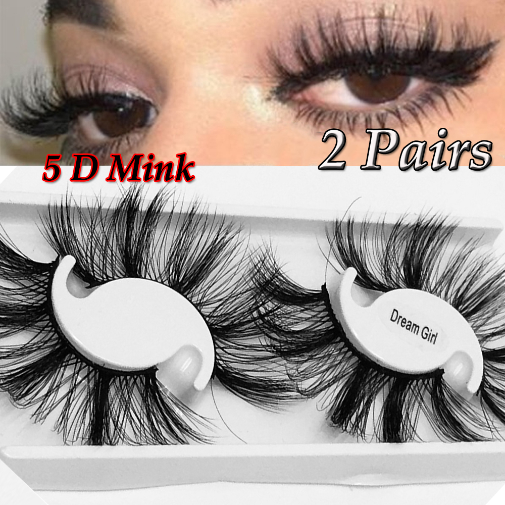 <font><b>2</b></font> <font><b>Pairs</b></font> 5D Dramtic False <font><b>Eyelash</b></font> 25MM Thick Long Lashes Mink Hair False <font><b>Eyelashes</b></font> Fake Lashes Fluffy Handmade Lashes Makeup image