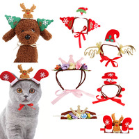 6pcs WhosalePet Cats Headband Christmas Sabta Claus Costume For Small Dogs Cats Hair Accessories Snow Man Scarf Fun Accessories