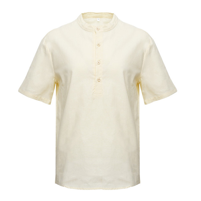 Men Linen Shirts Short Sleeve Breathable Men's Baggy Casual Shirts Slim Fit Solid Cotton Shirts Mens Pullover Tops Blouse 5