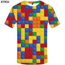 Футболка мужская летняя квадратная с геометрическим принтом, смешная рубашка с российским принтом, цветная аниме одежда