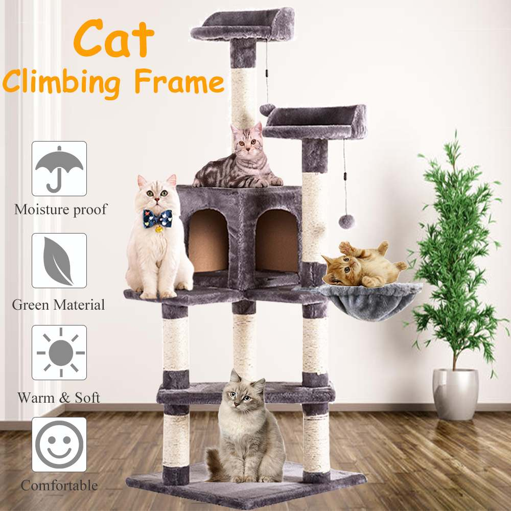 Luxury Cat Scratching Post Large Climbing Frame for Cat Hanging Fluffy Balls Toys House Multi-functional Cat Tree Board Condo