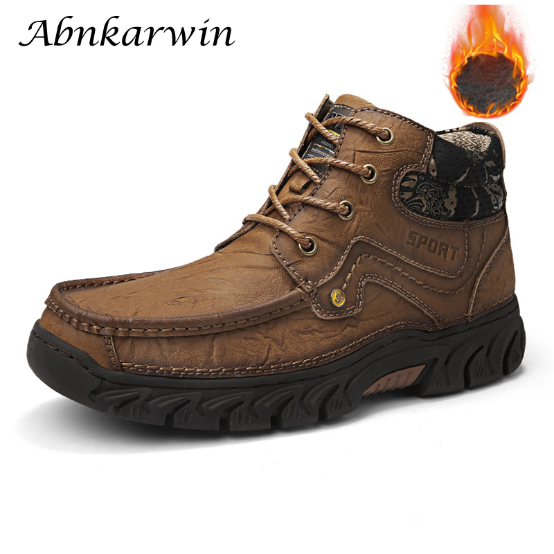 Men Winter Genuine Leather Ankle Safety Work Shoes Boots Snow Botas Hombre Man Boot Zapatos De Seguridad Botines Erkek Bot Safty