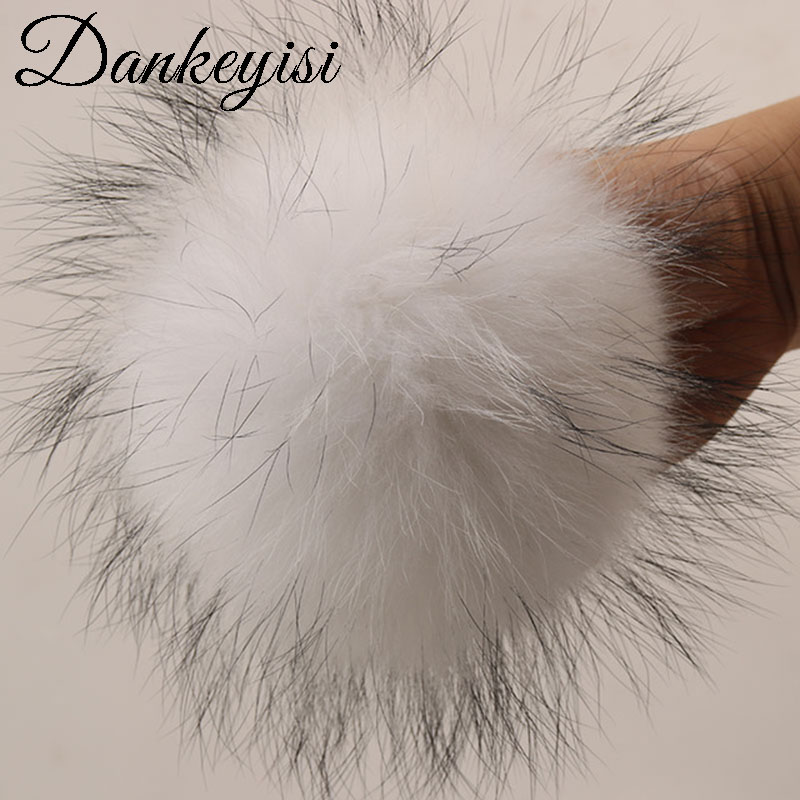 DANKEYISI Real Fur Pompoms 15-16cm DIY Raccoon And Fox Fur Pom Poms Balls Natural Fur Pompon For Caps Bags Scarf Accessories
