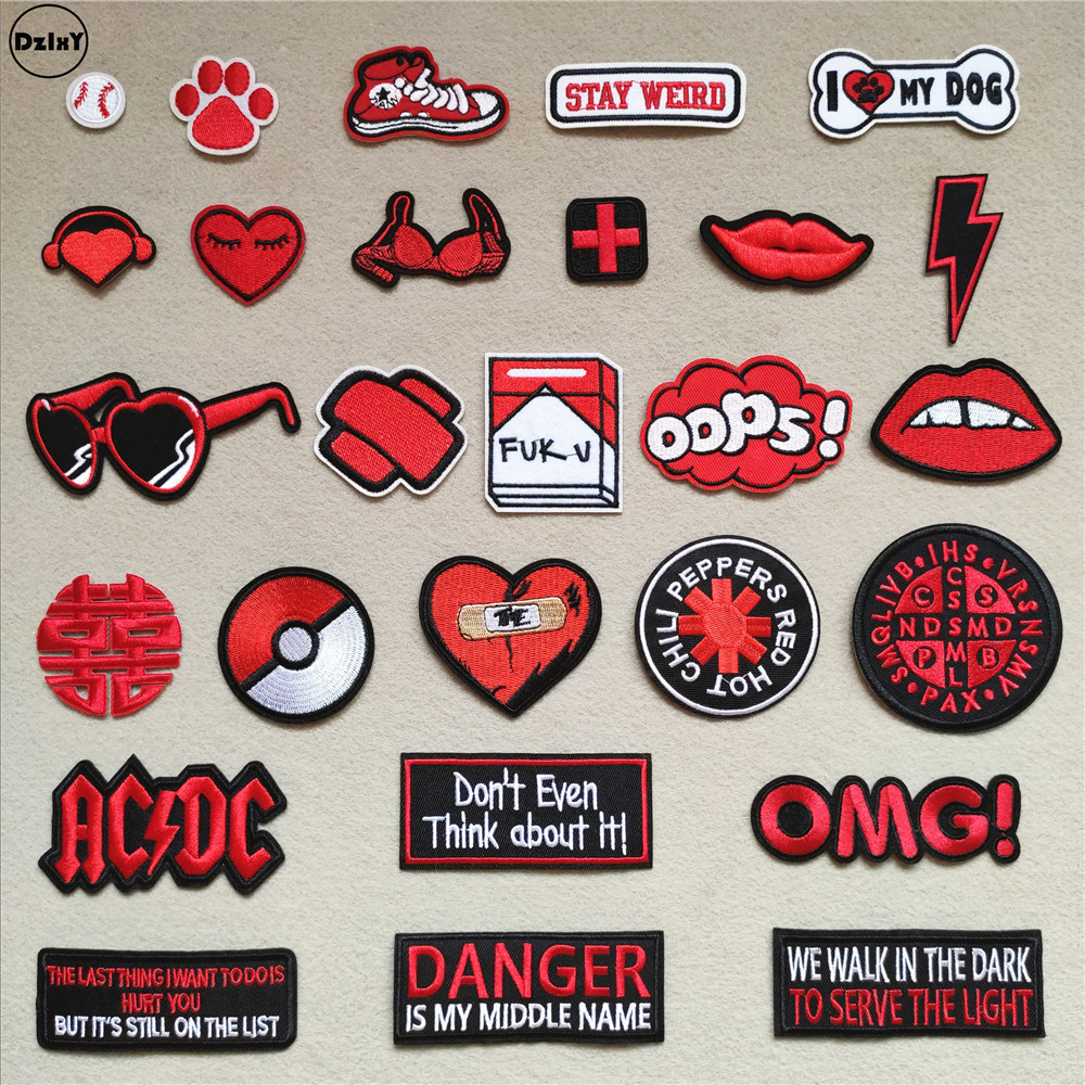 (46 Different Styles can Choose) Red Lips Patches for Clothing Embroidered Appliques title=