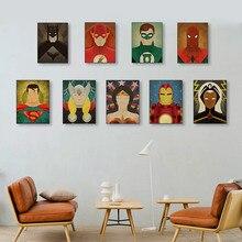 Póster de superhéroes de Marvel Vintage nórdico Superman Batman lienzo pintura al óleo pintura decorativa para sala de estar arte de pared