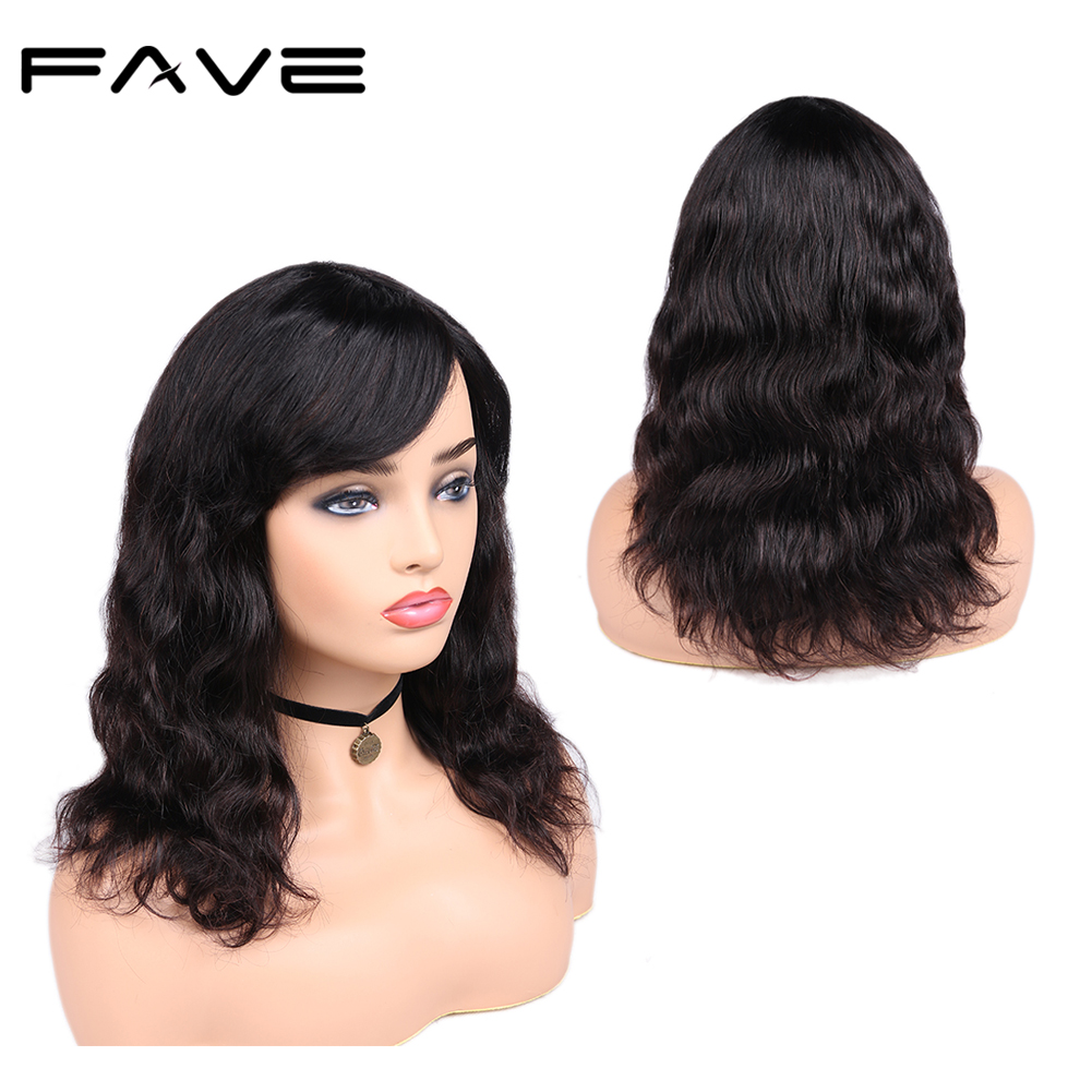 FAVE Brazilian Remy Body Wave Wig100% Human Hair Wig With Bangs 150% Density Natural Black Color For Women Free Shipping & Gifts