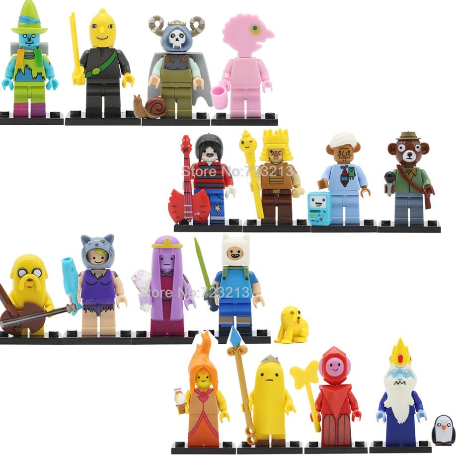 4pcs/lot Finn Jake Adventure Time Cartoon Figure Set The Ice King BMO Prismo The Lich Susan Strong Building Blocks Bricks Toys