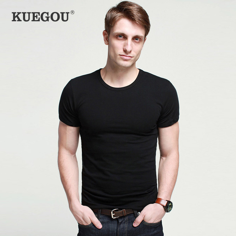 KUEGOU  Men's Short Sleeve T-shirt Summer Fashion Round Collar Pure Color Render Unlined Upper Garment Stretch T Shirt  ST-701
