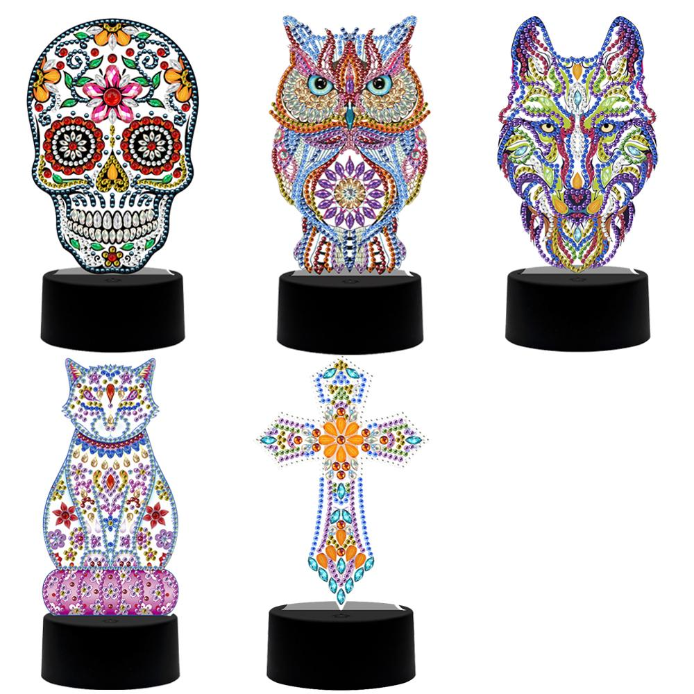 Diamond Painting Light DIY Drill Wolf Lamp Special Shape LED Embroidery Mosaic Kit Needlework Craft Home Decoration