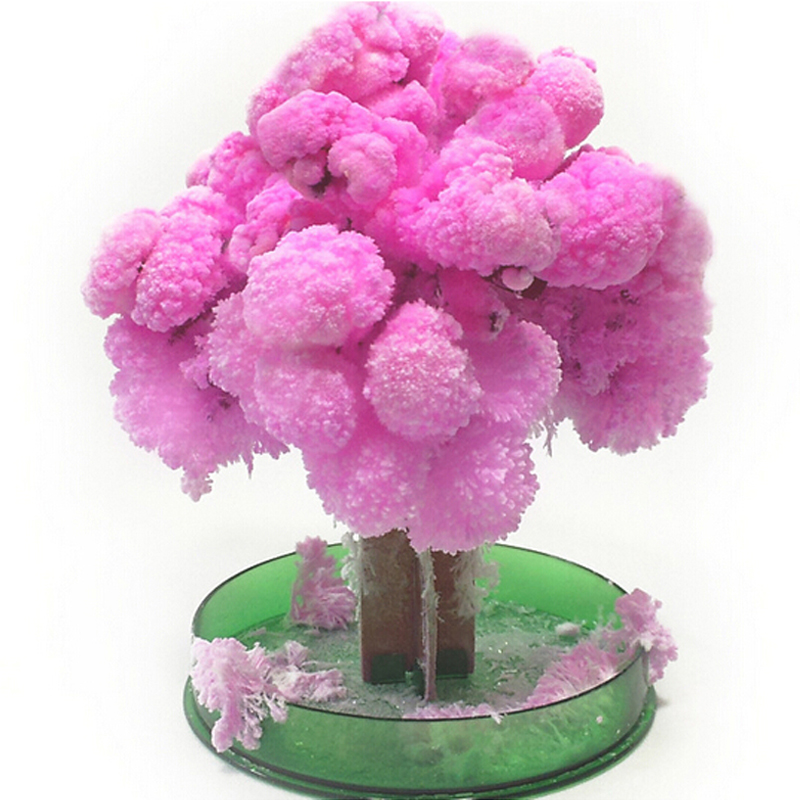 1PCS Newly Magic Growing Crystals Japanese Sakura Paper Trees Toy Made In Japan Desktop Cherry Blossom Christmas Kids Toys Funny