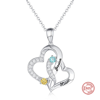 цена JrSr new 925 Sterling Silver Custom Letter Double Heart Pendant Necklaces Engraved Name and Birthstone DIY Fashion Jewelry Gifts онлайн в 2017 году