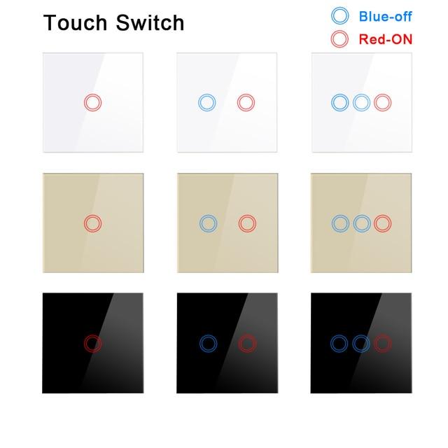 Interruptor de toque de parede padrão eu, interruptor de parede, painel de vidro cristal, interruptor de sensor 1 gang ac220v